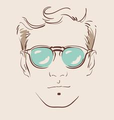 man in glasses vector illustration