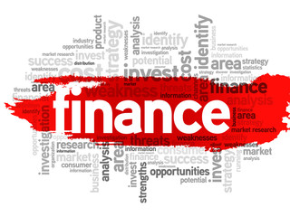 Finance business concept in word tag cloud, vector background