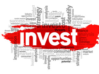 Invest business concept in word tag cloud, vector