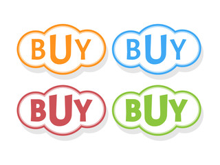 Buy word in bubble icons