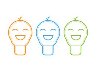 Smile light bulb icon