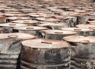 old fuel tanks that lay altogether