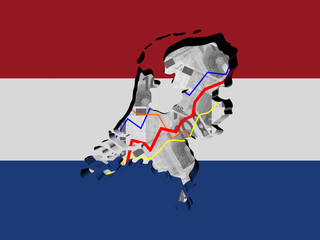 Netherlands map with flag and graphs on Euros illustration