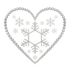 ハートと雪の結晶と宝石