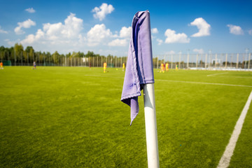 Closeup photo of corner flag on soccer field