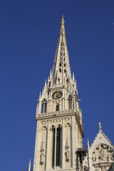 Zagreb Cathedral, clock tower. Croatia.