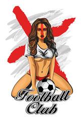 England soccer fan girl. Vector illustration.