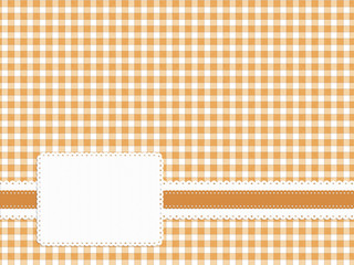 Gingham fabric with embossed style label. Neutral honey shade