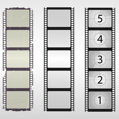Old film. Film countdown numbers. Vector illustration.