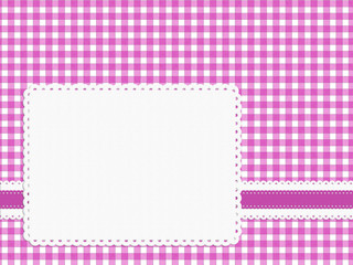 Feminine girly bright pink check gingham fabric background