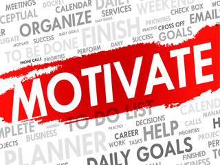 Word cloud of MOTIVATE related items, vector background