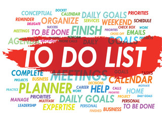 Word cloud of TO DO LIST related items, vector background