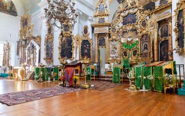 Interior of the orthodox church in Mlevo village, Russia