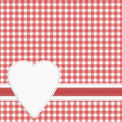 Gingham heart check background. Doily effect, red white.
