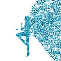Rhythmic art gymnastics woman with clubs vector background