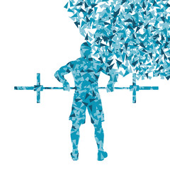 Crossfit man weightlifting vector background concept