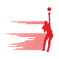 Volleyball woman player vector background