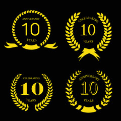 10 years anniversary laurel gold wreath, set