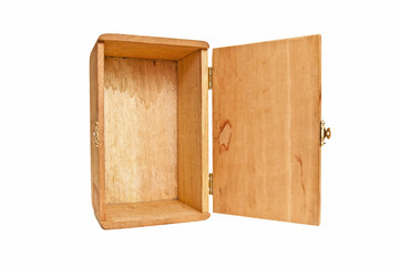 Empty Wooden Box On End With Hinged Door Open