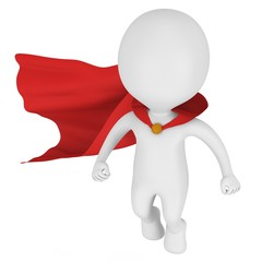 3d brave superhero with red cloak fly above