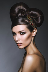 Beauty portrait of young girl with beautiful hairstyle)