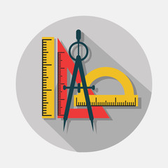 Compass and rulers icons with long shadow on gray background