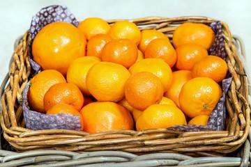 Basket of fresh mandarins