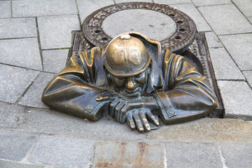 Cumil, the happy sewage worker statue,Bratislava, Slovakia.