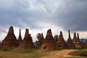Ancient stupas in Sangkar village, Myanmar