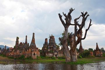 Ancient pagodas in Sangkar, Shan state, Myanmar
