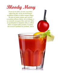 Bloody mary cocktail isolated on white background. Top garnished