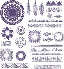 Tribal, Bohemian Mandala background with round ornaments,