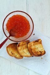 Red caviar with toast bread
