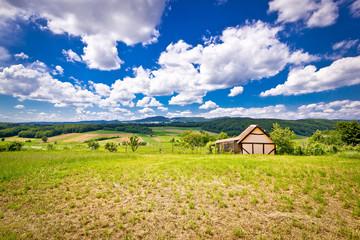 Cottage in idyllic agricultural landscape