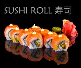 Salmon and caviar sushi roll on black