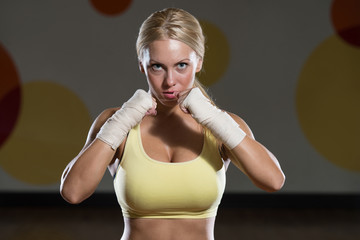 Young Woman Ready To Fight