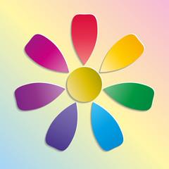 Бумажный разноцветный цветок