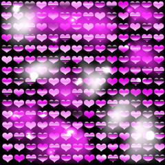 Фон из блестящих сердец с малиновым оттенком