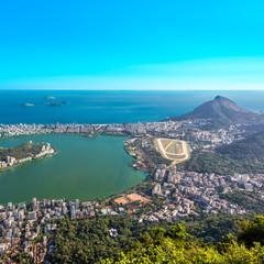 Aerial view of Ipanema Beach and Lagoa Lake, Rio de Janeiro