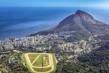 Aerial view of Ipanema Beach and race track, Rio de Janeiro