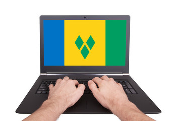 Hands working on laptop, Saint Vincent and the Grenadines
