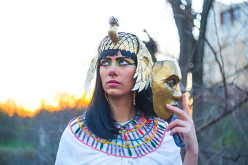 Portrait of a young woman in the image of Nefertiti