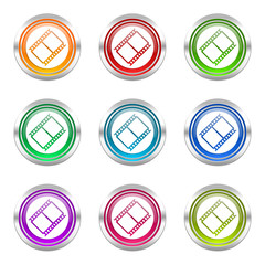 movie colorful web icons vector set
