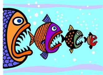 Die großen Fische fressen die kleinen