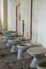toilet bowl in public old interior