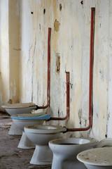 toilet bowl in public old interior 2
