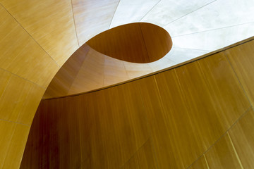 Wood abstract staircase well