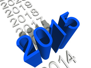 Conceptual 3D blue 2015 year isoalted