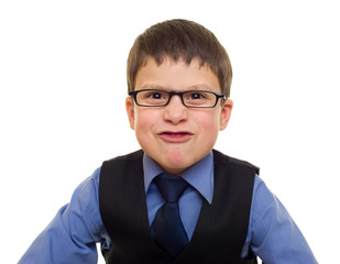 portrait of a boy in business suit