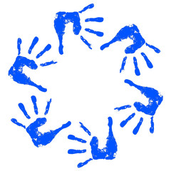 Conceptual children painted hand print isolated